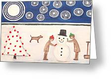 Making A Snowman At Christmas Greeting Card by Patrick J Murphy