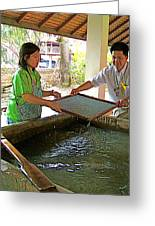Making Paper Using Mulberry Tree Pulp At Boring Paper Factory In Chiand Mai-thailand Greeting Card