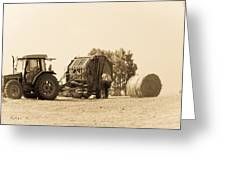 Farm - Tractor - Hay - Making The Drop Greeting Card