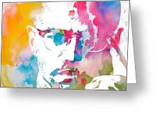 Malcolm X Watercolor Greeting Card