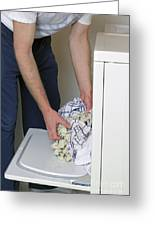 Male Doing Laundry Greeting Card