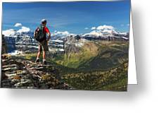 Male Hiker Standing On Top Of Mountain Greeting Card
