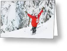 Male Skier Throws His Hands Greeting Card