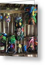 Maleku Balsa Tribal Masks Greeting Card