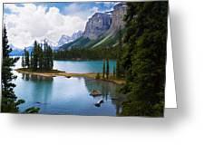 Maligne Lake And Spirit Island Greeting Card