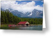 Maligne Lake In The Canadian Rockies Greeting Card