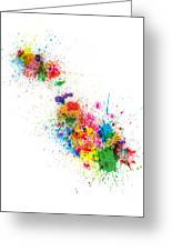 Malta Map Paint Splashes Greeting Card