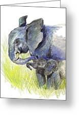 Mama Elephant And Calf Greeting Card
