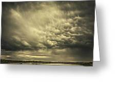 Mammatus Storm Clouds Above A Lake Greeting Card