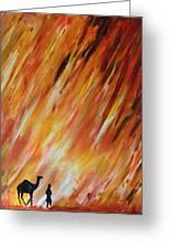 Man And Camel Greeting Card