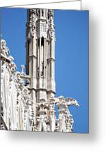 Man And Dragon Gargoyles With Tower Duomo Di Milano Italia Greeting Card