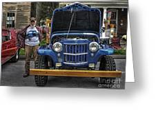 Man And His Jeep Greeting Card
