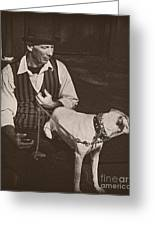 Man And White Dog In New Orleans Greeting Card