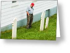 Man At Headstone Greeting Card