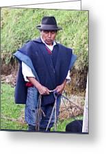Man At Otavalo Animal Market Ecuador Greeting Card