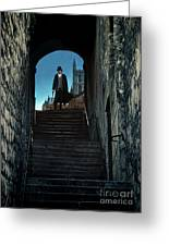 Man At The Top Of The Steps Greeting Card