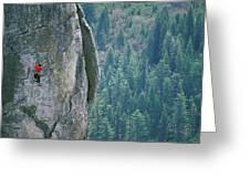 Man Climbing On A Big Granite Spire Greeting Card