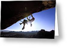 Man Climbing On An Overhang In Joshua Greeting Card