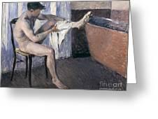 Man Drying His Leg  Greeting Card