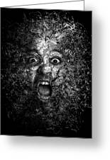 Man Eyes Face Horror Portrait Black And White  Greeting Card