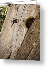 Man Falls While Climbing A Crack Route Greeting Card