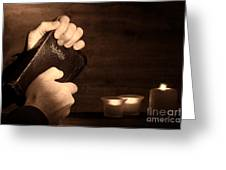 Man Hands And Bible Greeting Card