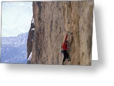 Man In A Red Shirt Lead Climbing Greeting Card by Corey Rich