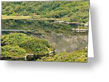 Man In Small Fishing Boat Travelling On Upper Lake Of Killarney National Park County Kerry Ireland Greeting Card