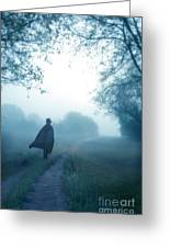 Man In Top Hat And Cape On Foggy Dirt Road Greeting Card