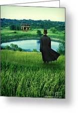 Man In Top Hat On A Hill Greeting Card