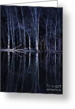 Man In Woods By River Greeting Card