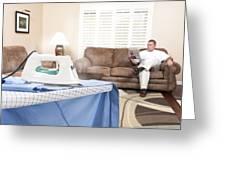 Man Ironing Shirt Greeting Card