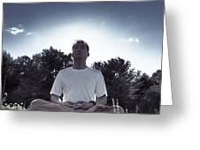 Man Meditating In The Nature During Sunrise Greeting Card