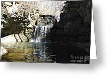 Man On A Waterfall Ledge Greeting Card
