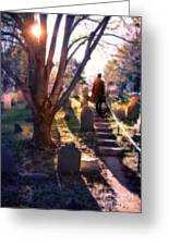 Man On Cemetery Steps Greeting Card