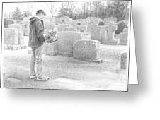 Man Paying Respects Grave Pencil Portrait Greeting Card