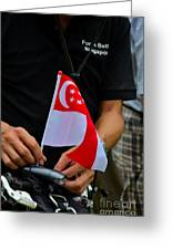 Man Plants Singapore Flag On Bicycle Greeting Card