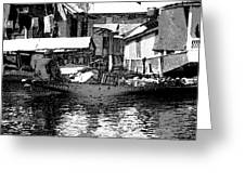 Man Plying A Small Boat Laden With Vegetables In The Dal Lake Greeting Card