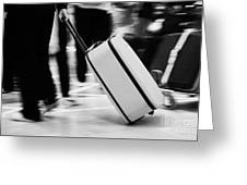 man pulling red wheeled luggage out of Reina Sofia Sur TFS South Airport Tenerife Canary Islands Spain Greeting Card