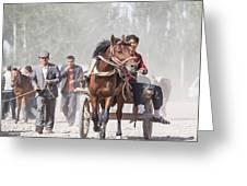Man Riding A Carriage At Kashgar Sunday Market China Greeting Card