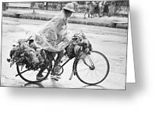 Man Riding Bicycle Carrying Chickens Greeting Card