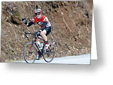 Man Riding Bike In A Race Greeting Card