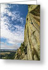 Man Rock Climbing At Devils Tower Greeting Card