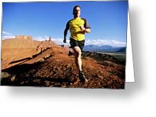 Man Running In Moab, Utah Greeting Card