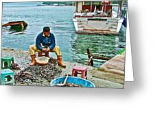 Man Selling Fresh Mussels On The Bosporus In Istanbul-turkey  Greeting Card