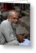Man Smiles For Camera Lahore Pakistan Greeting Card