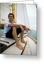 Man Smiling On Sailboat, Casco Bay Greeting Card