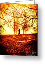 Man Standing In Front Of A Blazing Forest Fire Greeting Card