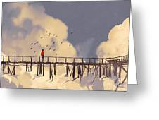 Man Standing On Old Bridge In Greeting Card