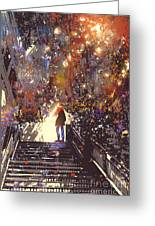 Man Standing On The Top Of Stair In The Greeting Card
